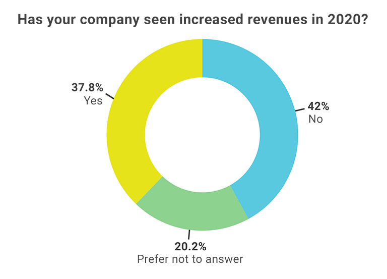 Doughnut chart depicting percentage of people polled saying their companies increased revenues for 2020.